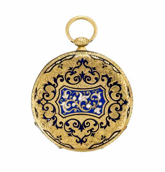 ANONIMO: Orologio da tasca in oro 18K con decoro in smalti - photo 2