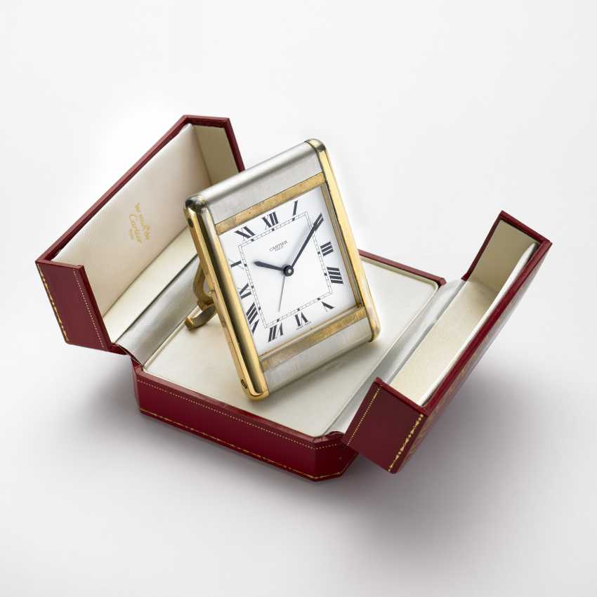 CARTIER: Orologio da viaggio in metallo bianco e dorato - photo 1