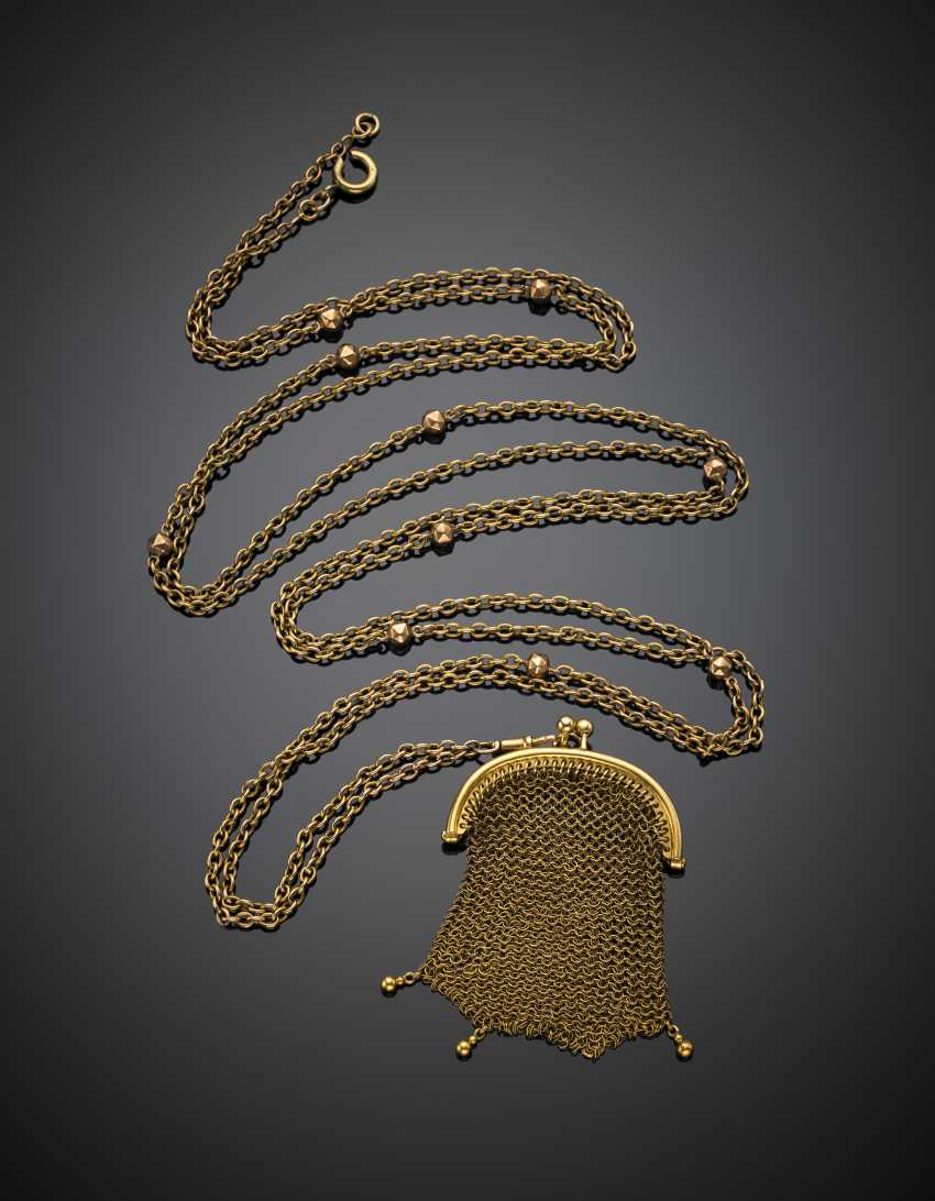 Long chain to hold a bag to the network 7 cm,40x4,70 in yellow gold 750/1000 , with the spacers in red gold 333/1000 - photo 2