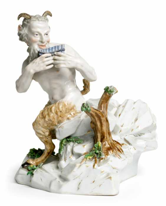 FLUTE-PLAYING FAUN, MEISSEN, - photo 1