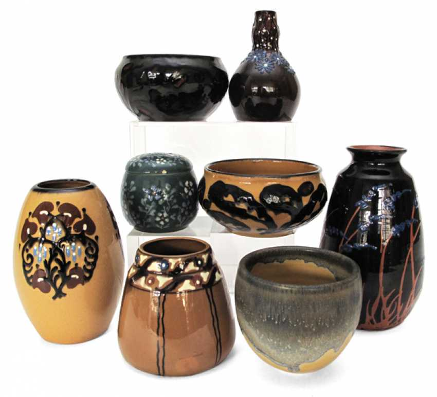 EIGHT VASES, AND BOWLS, - photo 1
