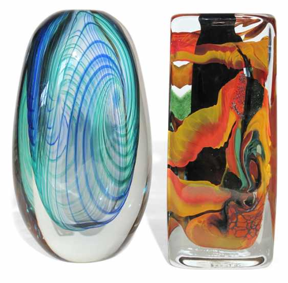 TWO GLASS VASES, COLORED A- - photo 1
