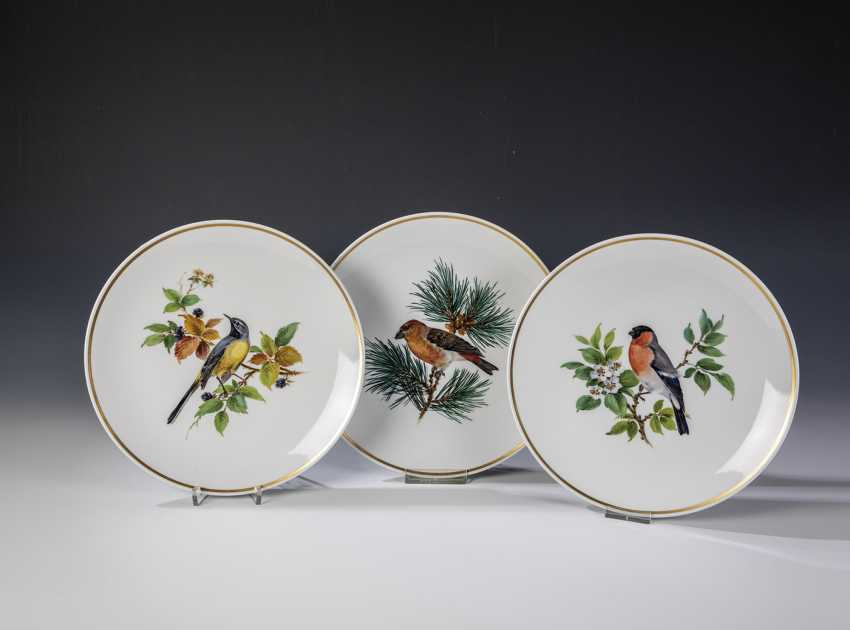 Three wall plates with bird painting - photo 1