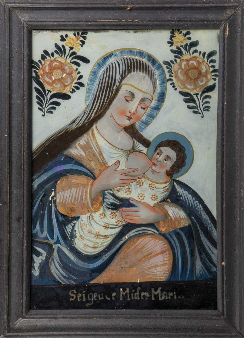Rare reverse glass painting: the virgin nursing the child - photo 1