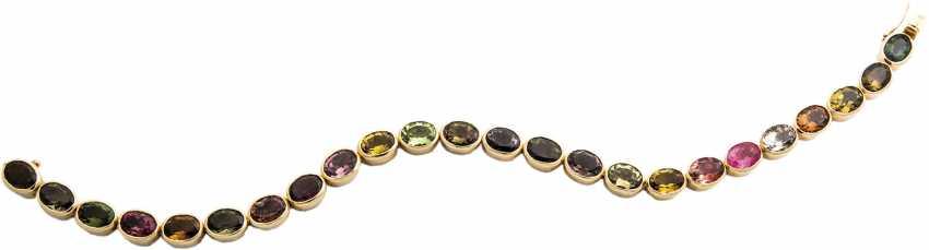 Gold bracelet with rainbow tourmaline - photo 1