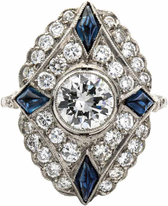 Diamond ring with sapphire - photo 1