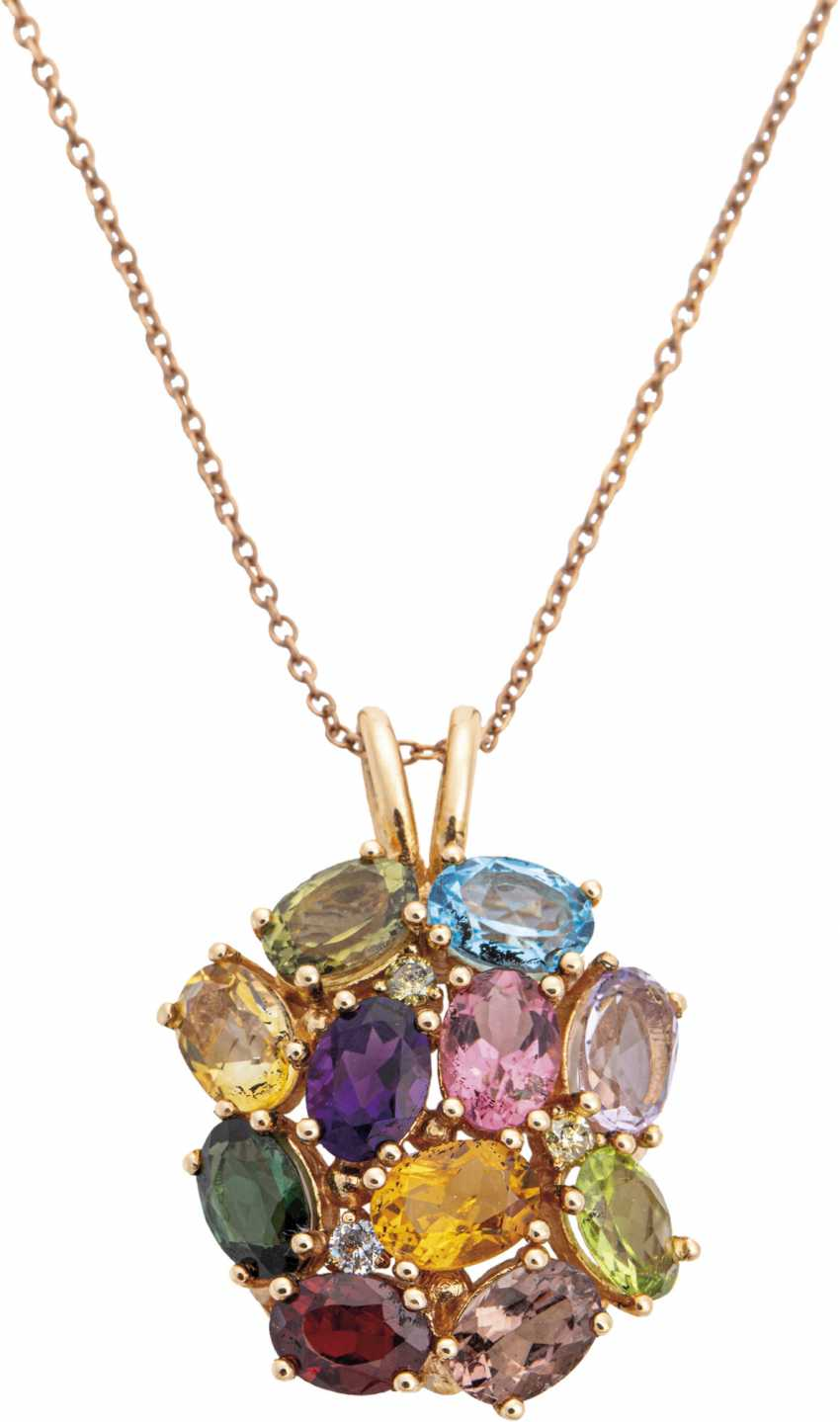 Color gemstone pendant with chain - photo 1