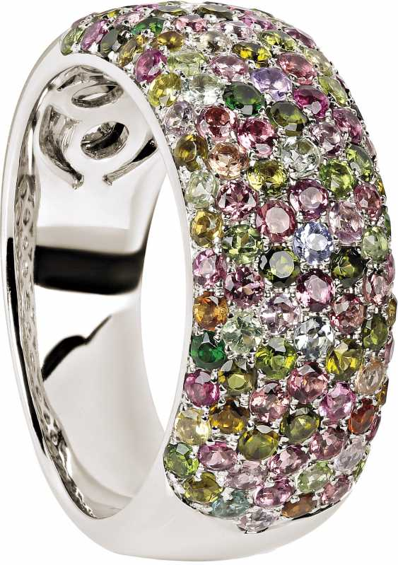 Modern band ring with multi-colored tourmalines - photo 1