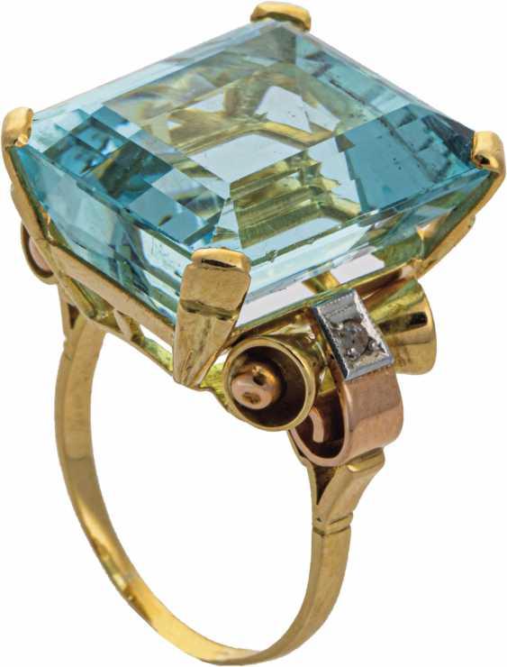Yellow gold ring with aquamarine - photo 1