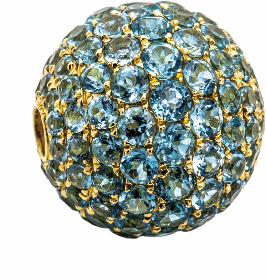 Golden ball clasp with blue Topaz - photo 1