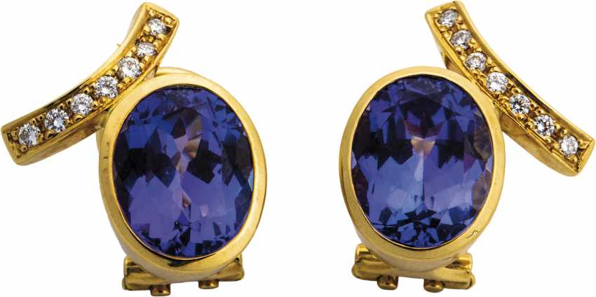 Tanzanite stud earrings with diamonds - photo 1