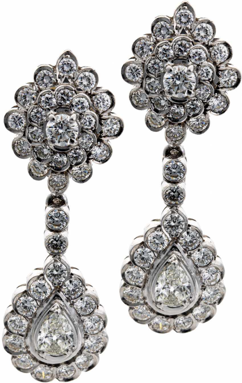 Pendeloque drop earrings with diamonds - photo 1