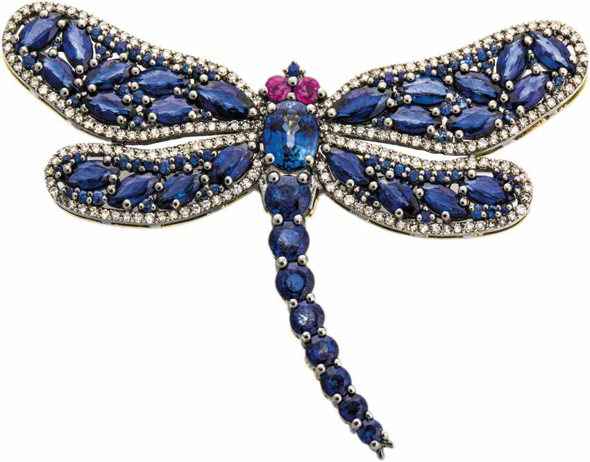 Sapphire/brooch pendant in the shape of a dragonfly - photo 1