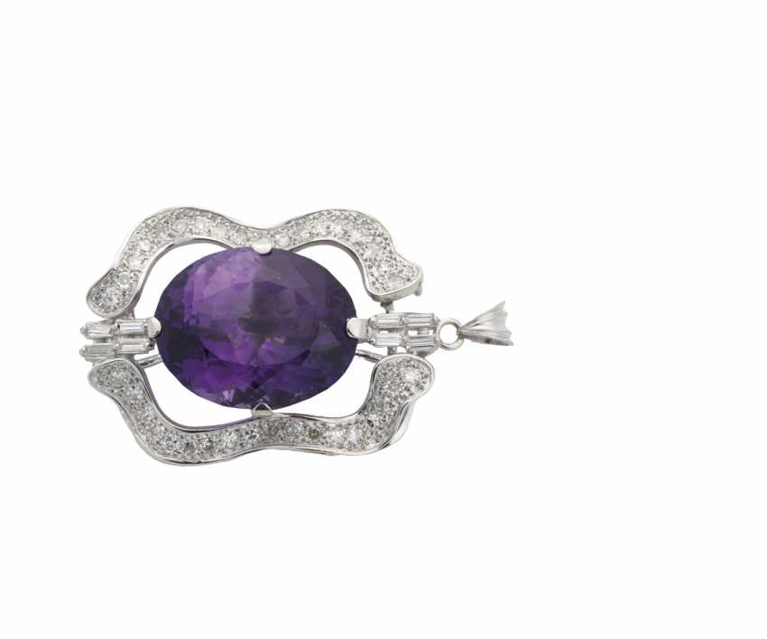 Pendant with diamonds and Amethyst - photo 1