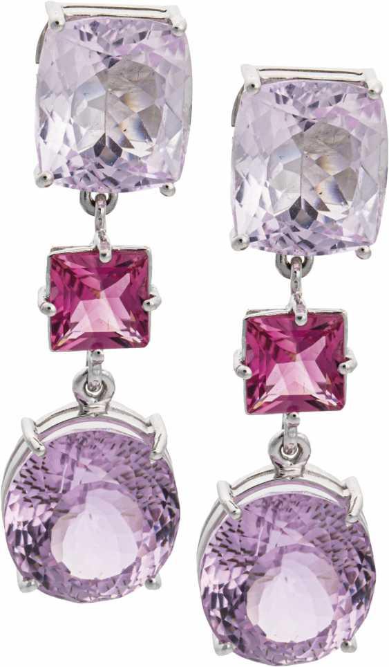Drop earrings with kunzite and pink tourmaline - photo 1