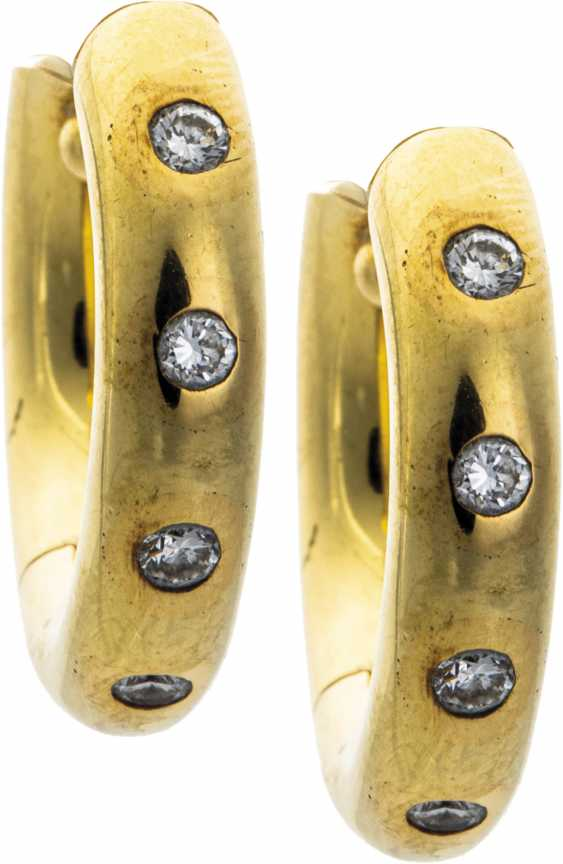 Gold Hoop earrings with diamonds - photo 1