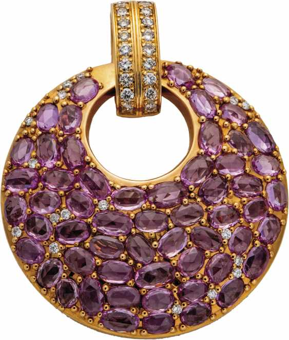 Pendant with pink sapphires and diamonds - photo 1