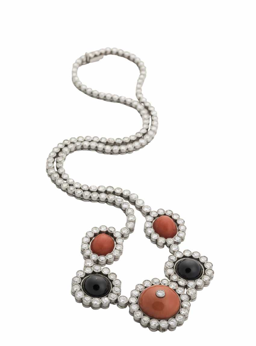 Diamond necklace with coral and Onyx - photo 1