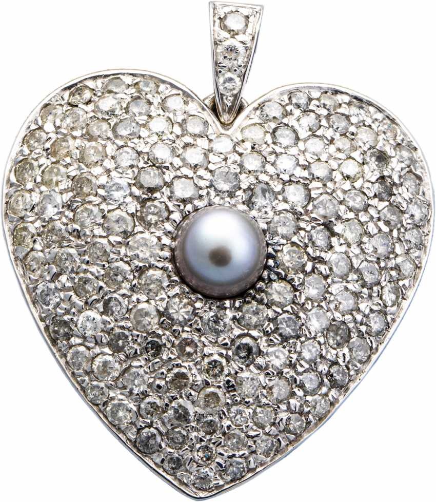 Heart pendant with brilliants and pearl - photo 1