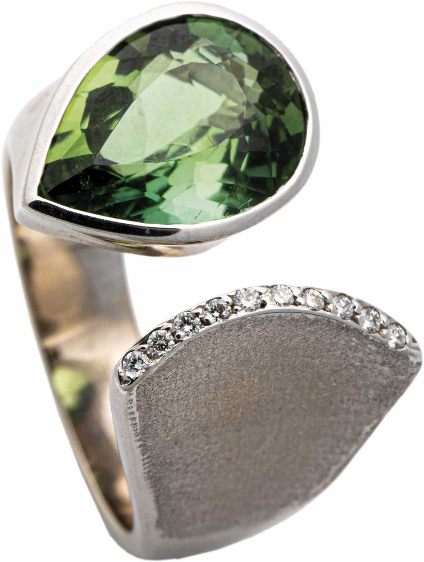 White gold ring with diamonds and tourmaline drops - photo 1