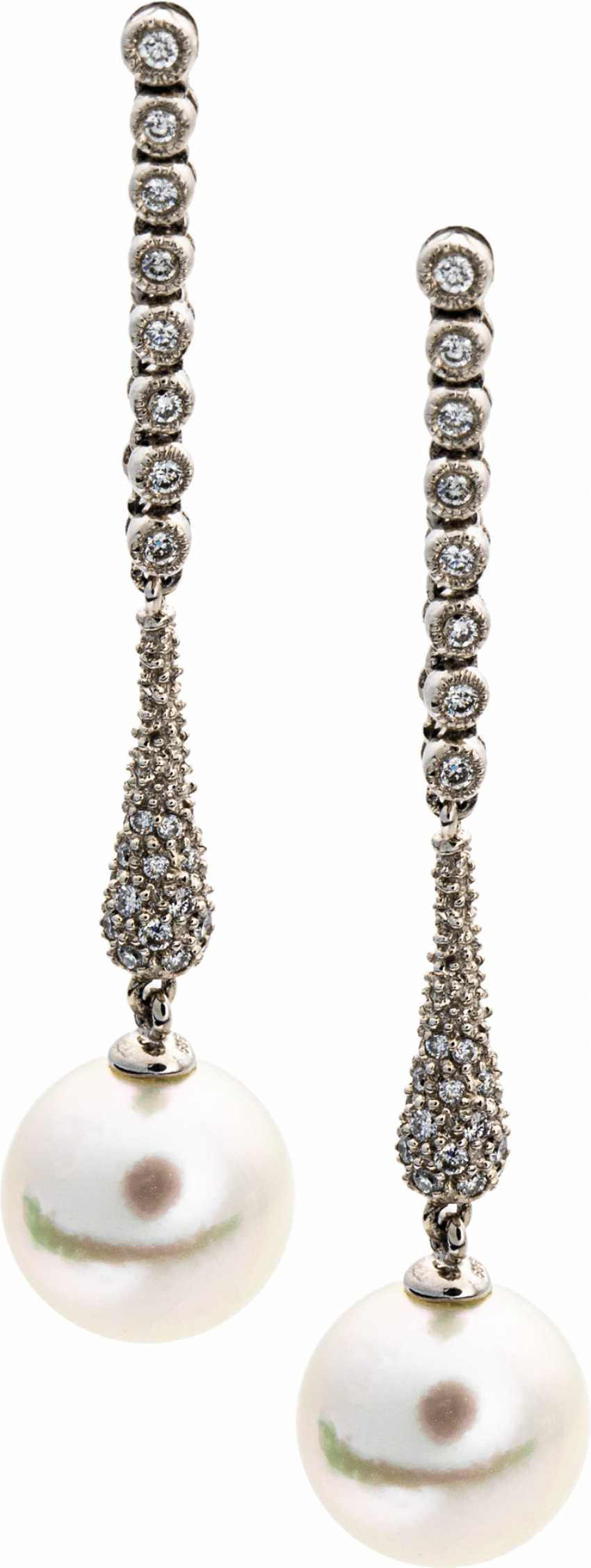 Long brilliant drop earrings with South sea pearl - photo 1