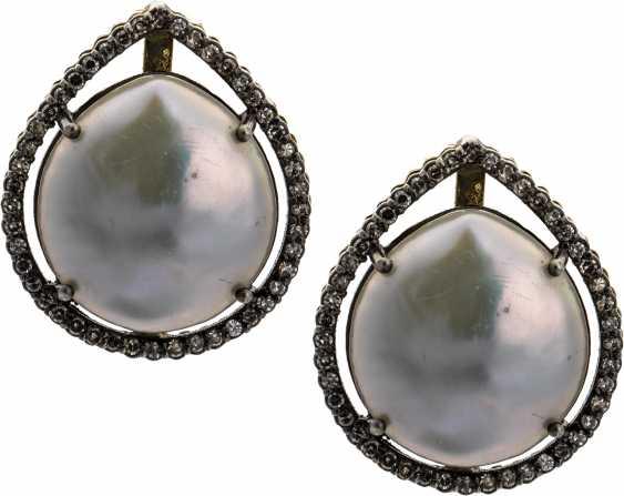 Ear plug with pearl and diamonds - photo 1