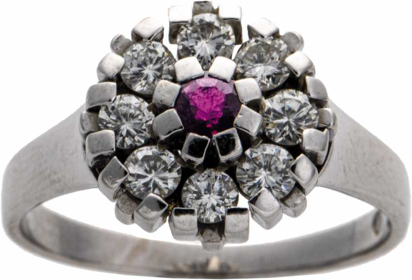 Diamond ring with ruby - photo 1