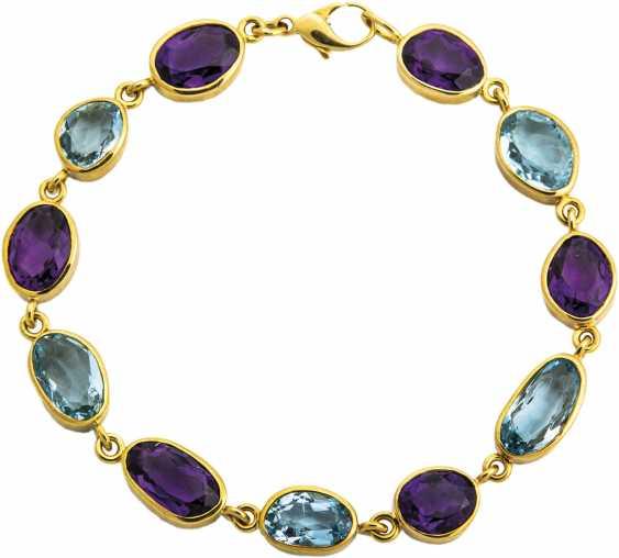 Gold bracelet with Amethyst and aquamarine - photo 1