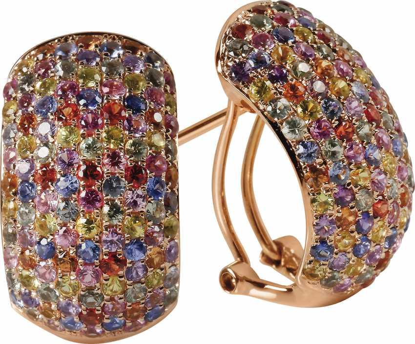 Semi-sapphires earrings with fancy  - photo 1