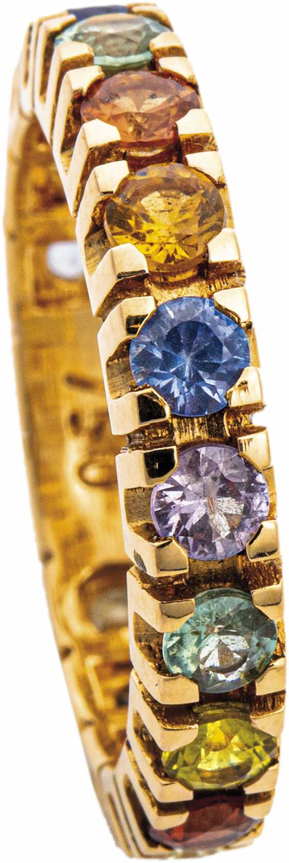 Memory ring with diamonds and fancy sapphires - photo 1