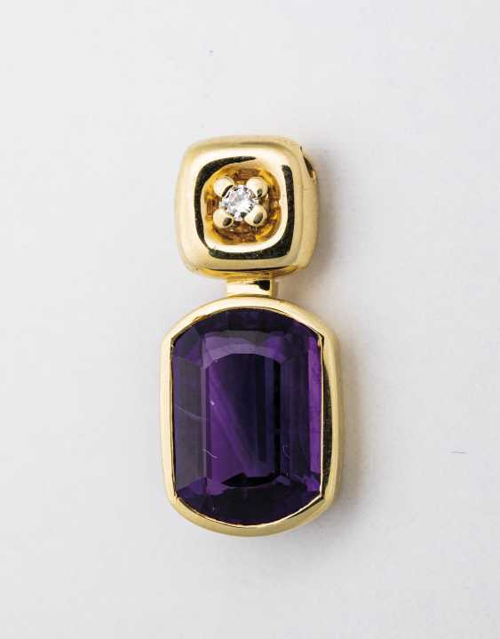 Pendant with Amethyst and brilliant-solitaire - photo 1