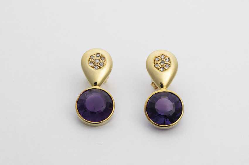 Stud earrings with diamonds and Amethyst - photo 1