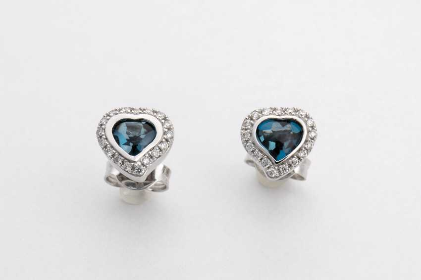 Stud earrings Pair with diamonds and blue Topaz - photo 1