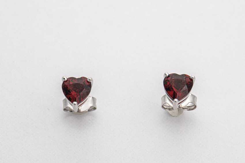 Stud earrings pair with garnet - photo 1