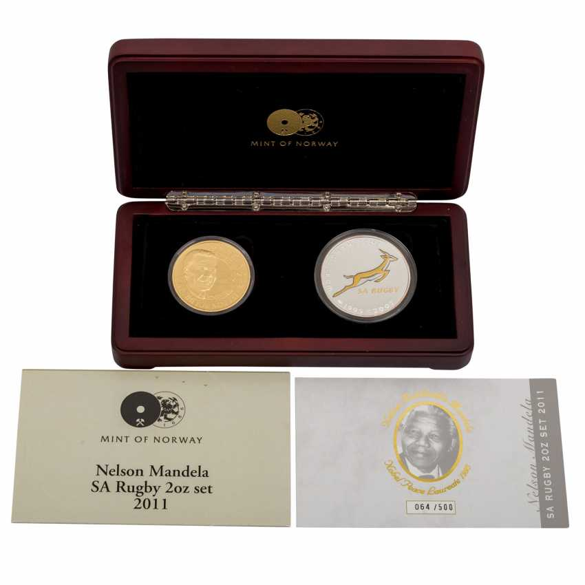 South Africa - Nelson Mandela Rugby Set, with 2 ounces of Gold fine, - photo 1