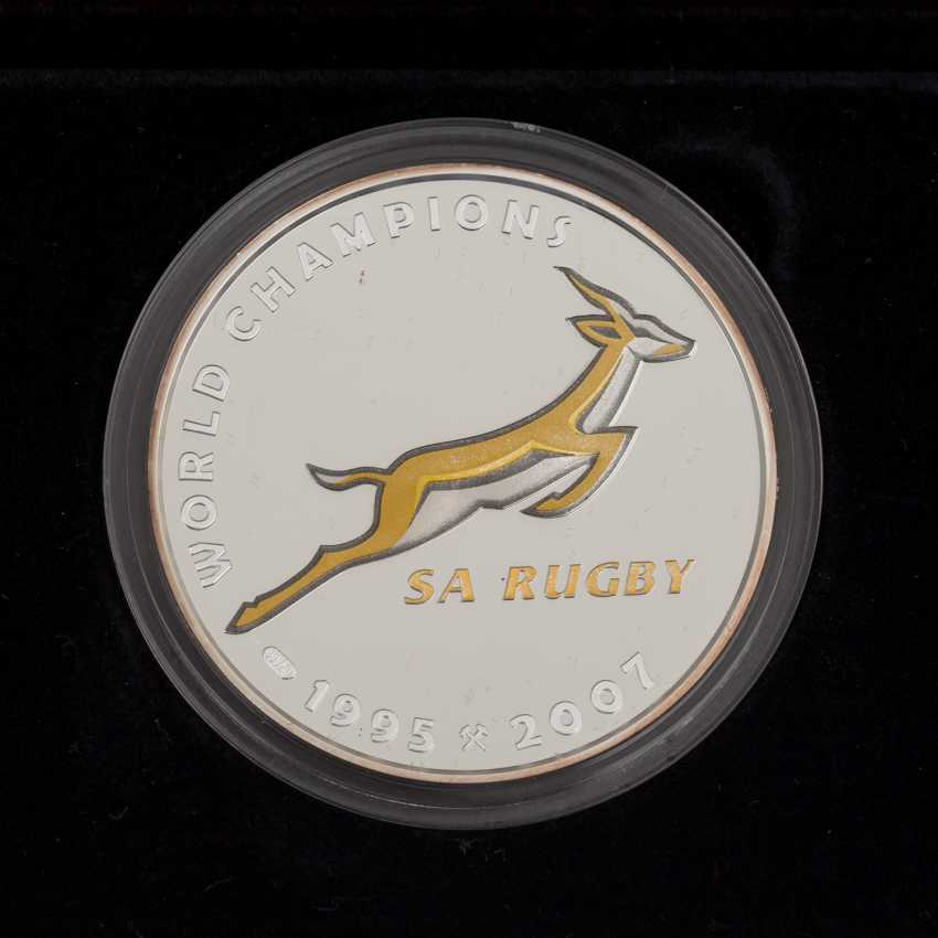 South Africa - Nelson Mandela Rugby Set, with 2 ounces of Gold fine, - photo 3