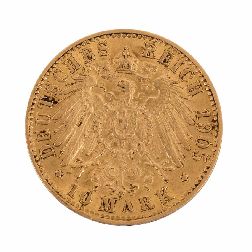 Württemberg/GOLD - 10 Mark 1905 F, Wilhelm II, - photo 2