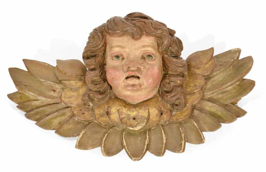 A WINGED CHERUBS HEAD, - photo 1