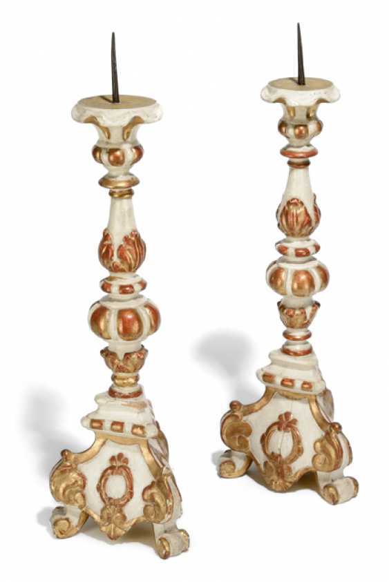 PAIR OF ROCOCO-STYLE ALTAR CANDLESTICKS, - photo 1