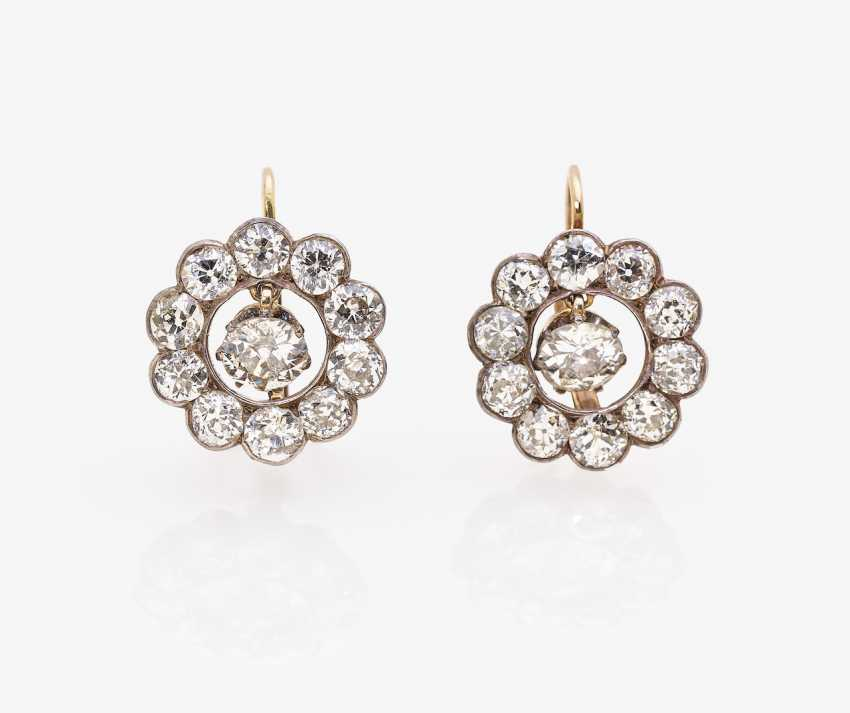 A Pair of earrings with old European cut diamonds - photo 1