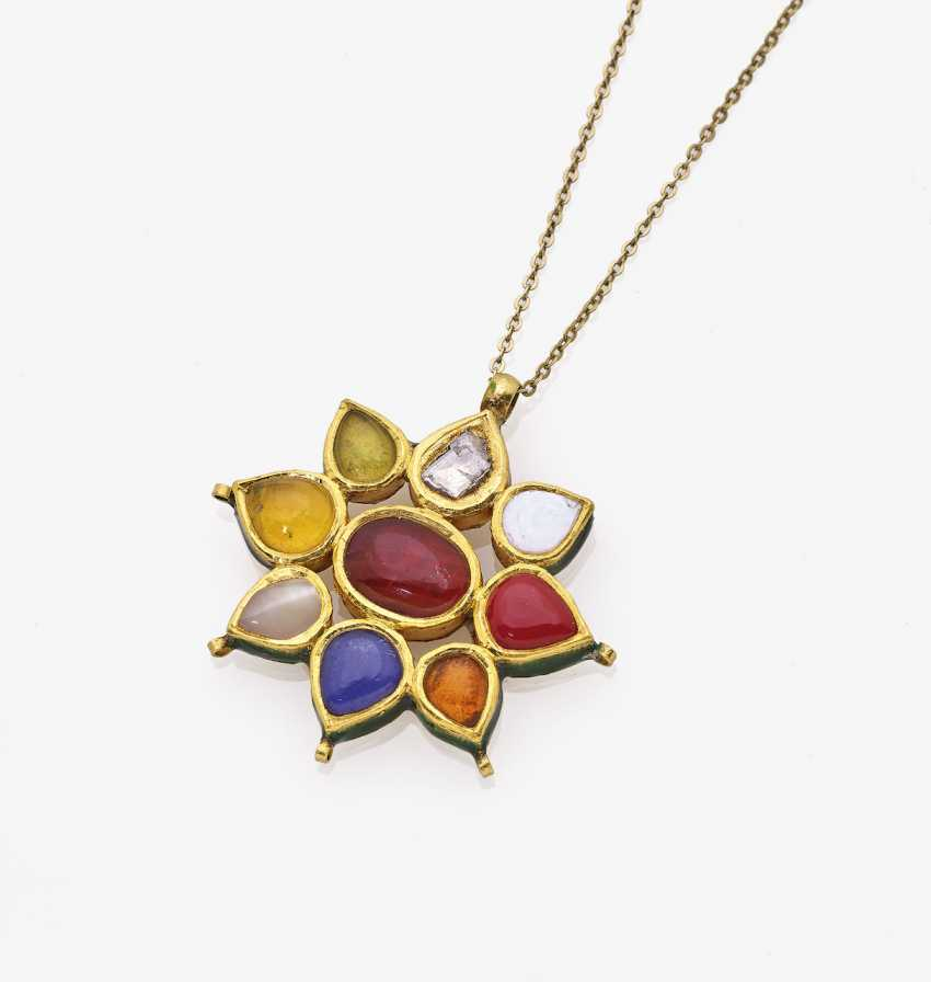 Pendant necklace with Colour gemstones and colored enamel - photo 1