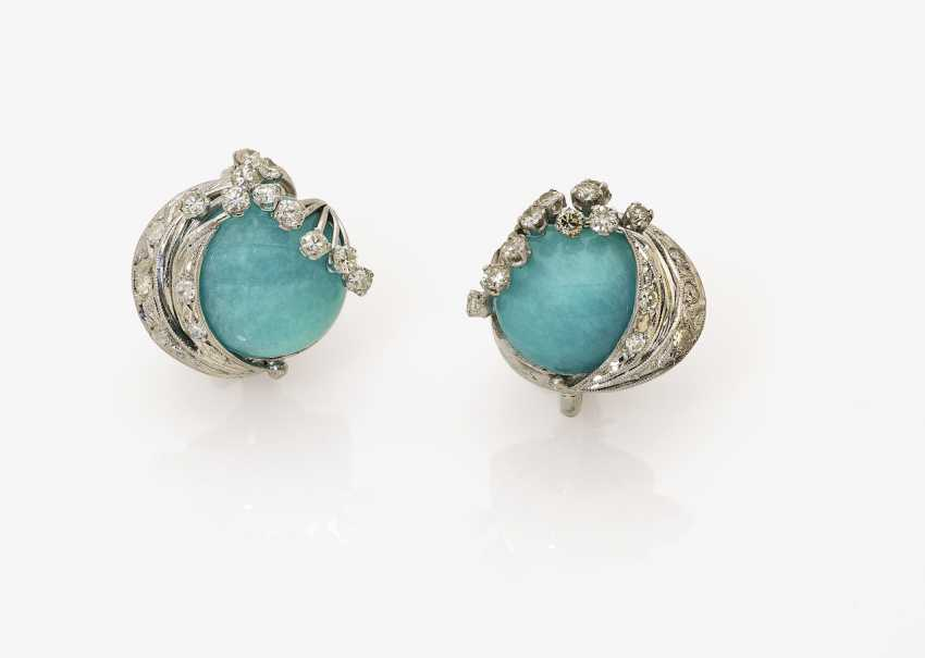 A Pair of clip earrings with aventurine and brilliant - photo 1