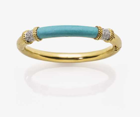 Bangle with turquoise and diamonds - photo 2