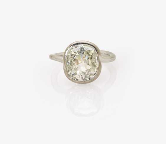 Solitaire ring with a diamond the old European cut-Cushion Cut - photo 1