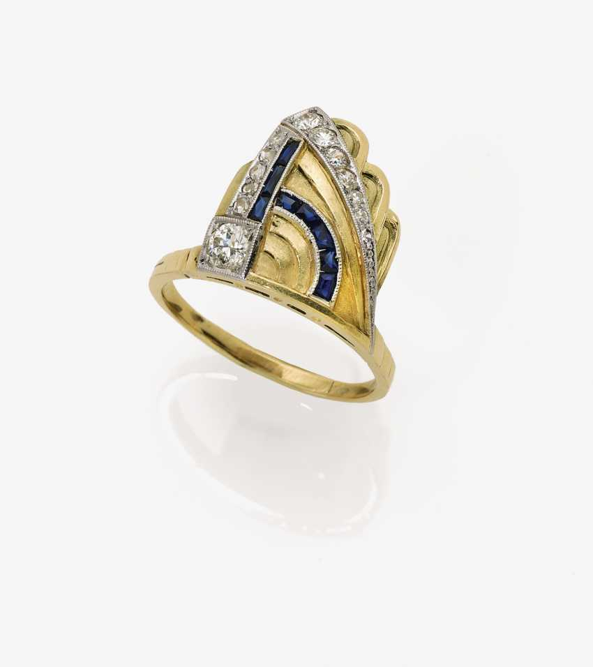 Historical Ring with diamonds and sapphires - photo 1