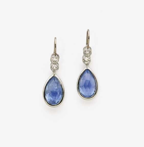 "A Pair of drop earrings with ""Burma"" sapphire drops and diamonds - photo 1"