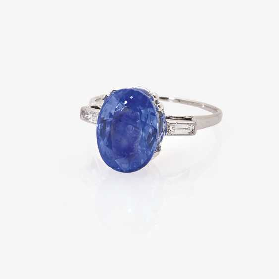 Alliance ring with a natural colored in cornflower blue sapphire and diamonds - photo 1