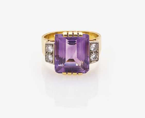 Ring with Amethyst and diamonds - photo 1