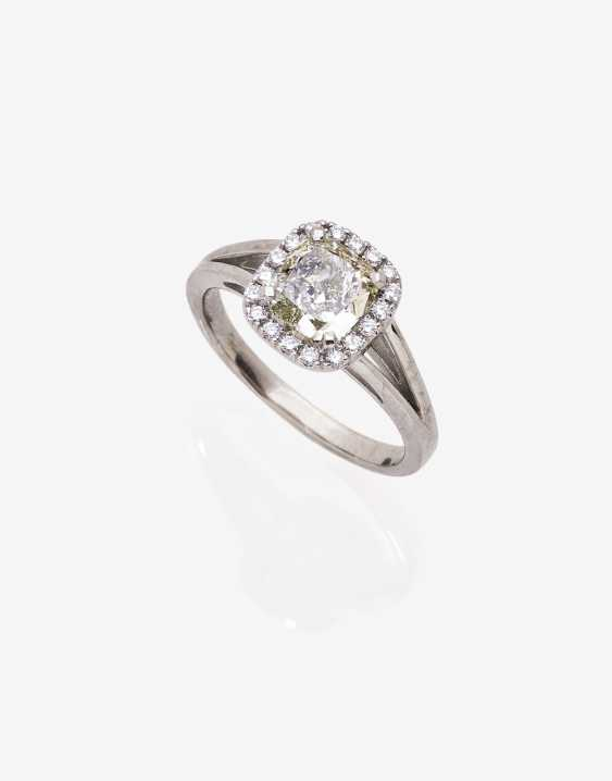 Entourage ring with a diamond in Cushion Cut, and brilliant - photo 1