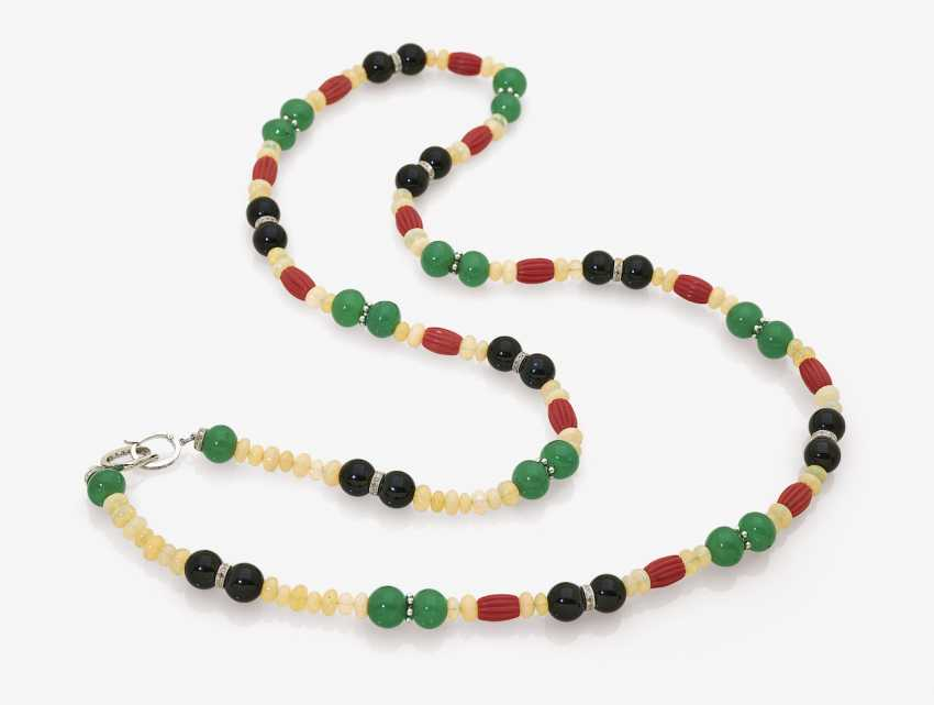 Chain with crystal-opals, coral, Onyx, and Chalcedony beads - photo 1